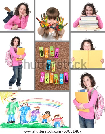 Back to School Collage With Elements on a White Background