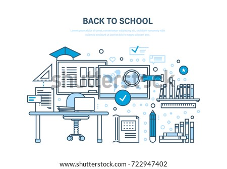 Back to school concept. Distance education and e-learning. Courses, universities and colleges. Teaching on lesson in classroom. Illustration thin line design of doodles, infographics elements.