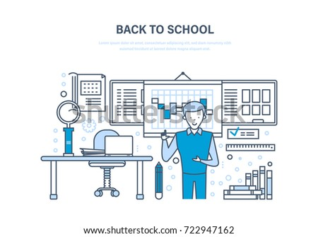 Back to school concept. Distance education, e-learning. Online courses, universities and colleges, school classroom. Teaching at the University. Illustration thin line design of doodles.