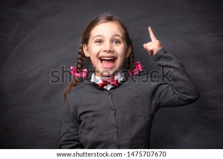 Back To School Concept, Portrait of Happy Smiling Child Student at Blackboard #1475707670