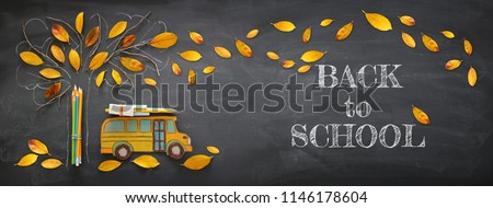 Back to school concept. Top view banner of school bus and pencils next to tree sketch with autumn dry leaves over classroom blackboard background #1146178604
