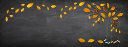 Back to school concept. Top view banner of tree sketch with autumn dry leaves over classroom blackboard background