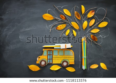Back to school concept. Top view image school bus and pencils next to tree sketch with autumn dry leaves over classroom blackboard background #1118113376