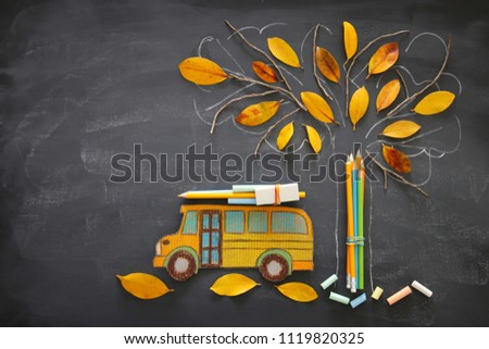 Back to school concept. Top view image school bus and pencils next to tree sketch with autumn dry leaves over classroom blackboard background #1119820325