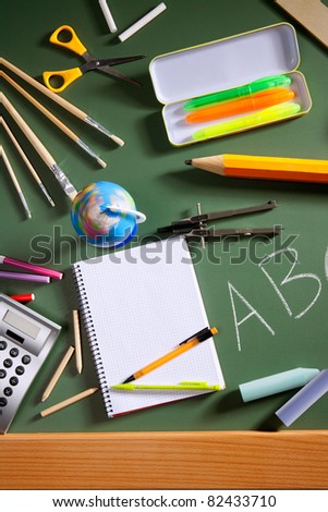 back to school concept with ABC written in green blackboard photo illustration