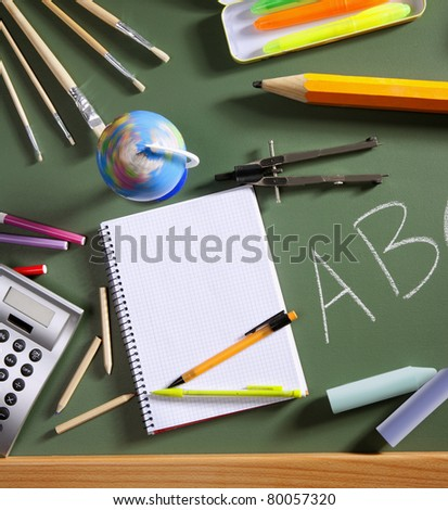 back to school concept with ABC written in school in green color blackboard