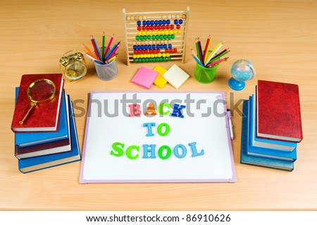 Back to school concept with many items