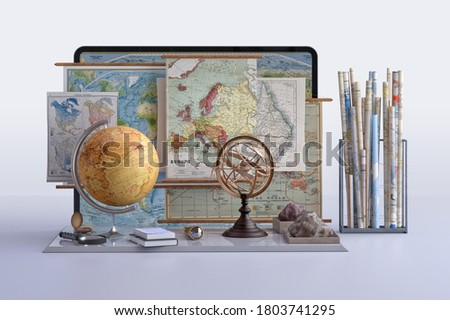 Back to school, distance learning, online education concept. Geography globe, compass, tablet screen  geographic maps background. Online video geography digital classroom lesson 3D design illustration Photo stock ©