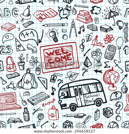 Back To School Doodles Supplies Seamless Pattern Sketchy