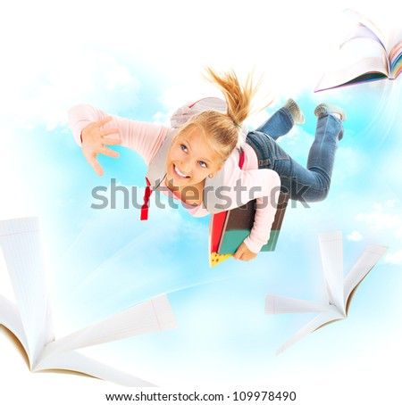 Back to School. Education Concept. Schoolgirl Flying With Her Books and Notebooks