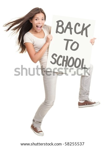 Back to school. Energetic college university student showing sign saying back to school. Cheerful white / chinese woman isolated on white background in full body.
