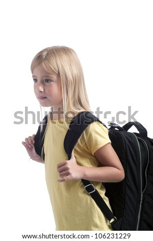 back to school : girl with heavy backpack