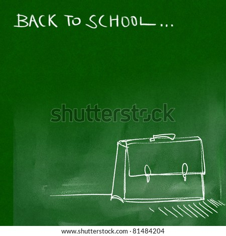 back to school - green chalkboard background (white chalk doodles & writing)