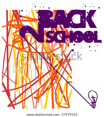 Back to school grunge background. Warm tones texture of intersecting lines and bulb lamp at bottom right. Vector file also available