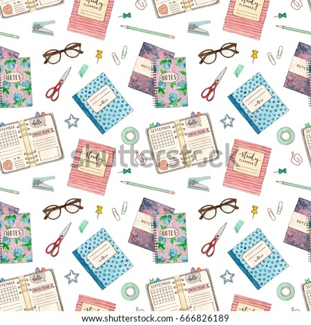 back to school. hand painted watercolor accessories and stationery. seamless pattern