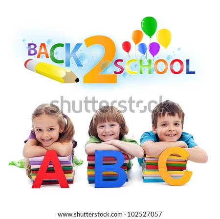 Back to school - happy kids with books and letters, isolated