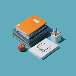 Back to school isometric student desktop with books and stationery, learning and education concept