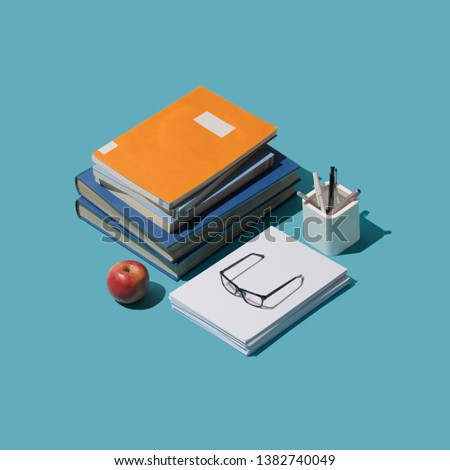 Back to school isometric student desktop with books and stationery, learning and education concept #1382740049