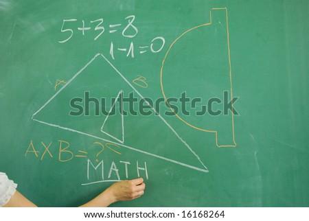 Back to school - math formula on green chalkboard