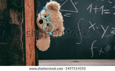 Back to school, maths concept. Smart kid in class, cute teddy wearing blue eyeglasses and math symbols on blackboard