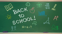 Back to School message with small colorful hand drawings