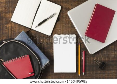 Back to school notepads arrangement top view