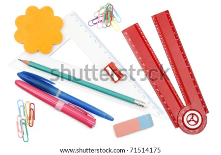 Back to school objects isolated on white background
