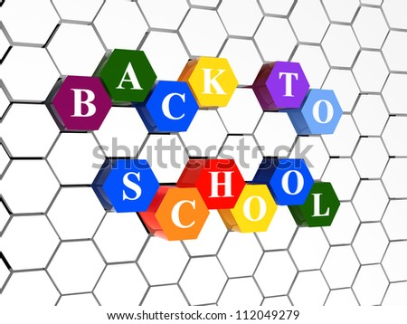 back to school on colorful hexagons over hexagonal net