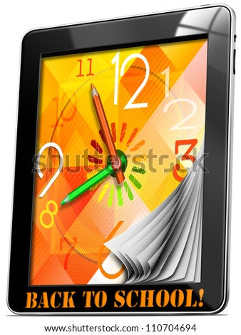 Back to School On Tablet PC / Colorful watch with hands, concept back to school on tablet pc!