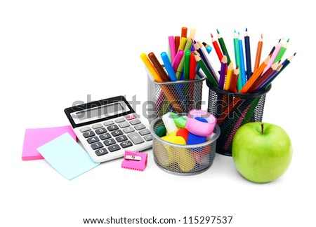 Back to school.  On white background.