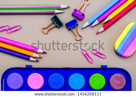 Back To School Pencils and Paint Box With Paper Clips and Bulldog Clips