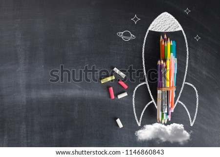 Back To School - Rocket Sketch On Blackboard - Shutterstock ID 1146860843