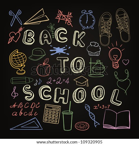 Back to school - set of school doodle symbols on chalkboard
