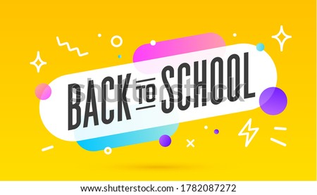 Back to School, speech bubble. Banner, poster, speech bubble with text Back to School. Geometric memphis style with message back to school. Explosion burst design, speech bubble. Illustration