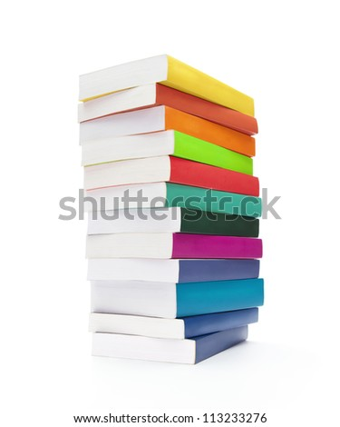 Back to school, stack of blank colorful books isolated on white background