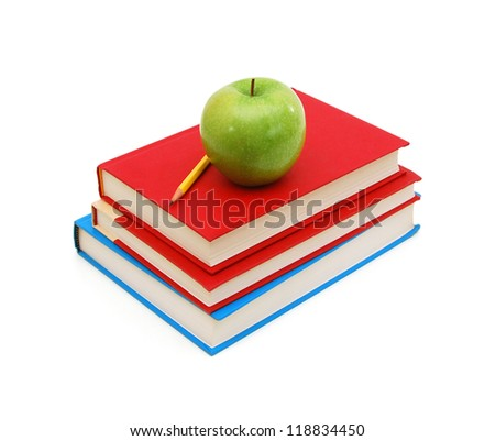 Back to school: stack of books with green apple with pencil on top over white background