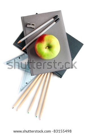 Back to school- still life on white background.