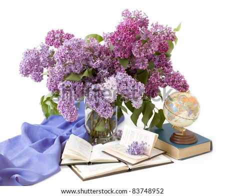 Back to school (still life with bunch of lilac, books and globe isolated on white)