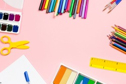 Back to school supplies flat lay, copy space