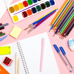 Back to school supplies flat lay, copy space,