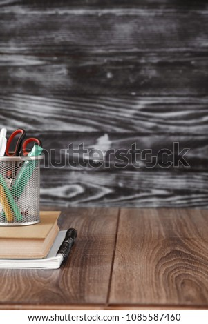 Back to school template on a blue board background, school concept #1085587460