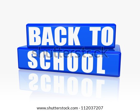 back to school - text over 3d blue rectangles with white letters