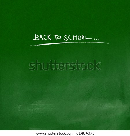 back to school title on green chalkboard background (white chalk lettering)