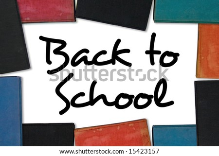 Back to School type (public domain) with old book border.