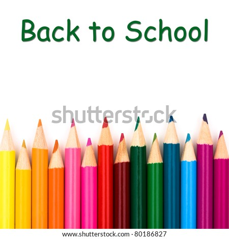 Back to school with pencil crayons border, a school background