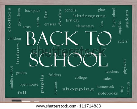 Back to School Word Cloud Concept on a Blackboard with great terms such as teachers, students, supplies, sales, tests, glue and more.