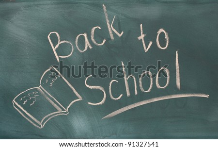 Back to school written on green chalkboard