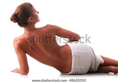 Back torso of woman at white background
