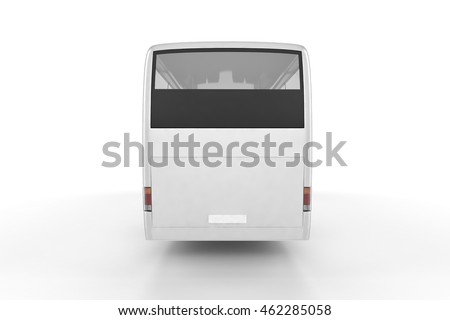 Back View - Bus Mock Up on White Background, 3D Illustration