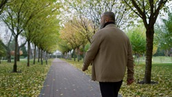 Back view man walking across beautiful park in autumn. Rear view of mature senior looking somewhere left. Grey hair person strolling slowly through fall park outdoors.